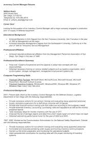 inventory control analyst resume objective fast food manager .