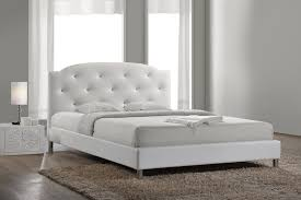 baxton studio bbt6440 full white canterbury white leather contemporary full size bed