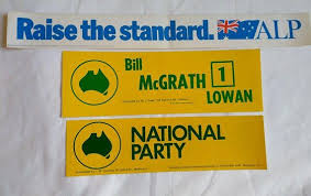 political campaign bumper stickers vintage australia labor national party political campaign bumper