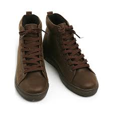 mens synthetic leather vintage high tops shoes brown made in korea us 6 5 10 5
