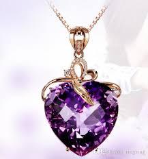 whole 2018 fashion silver wedding purple stone amethyst heart pendant necklace band jewelry women brithday party gift whole diamond