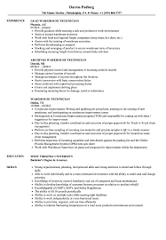 Warehouse Technician Resume Samples Velvet Jobs