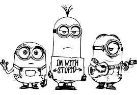Minions coloring pages are printable pictures with sketches of small yellow clever beings from the popular cartoon despicable me. Minions To Color For Children Minions Kids Coloring Pages