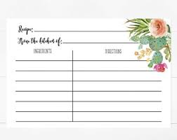 Printable Recipe Card Recipe Cards Recipe Insert For Bridal