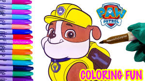 Paw Patrol Rubble Coloring Page Fun Coloring Activity For Kids