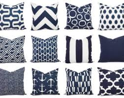 OUTDOOR Pillow Navy and White Pillow Cover by CastawayCoveDecor