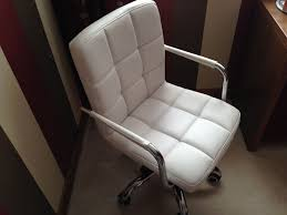 white faux leather with chrome swivel legs office chair dressing table chair