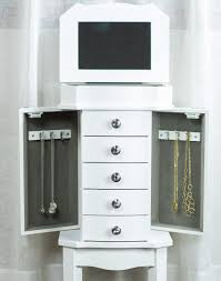 meg jewelry armoire crisp white