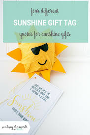 Sunshine Gift Tags Free Printable With 4 Different Quotes