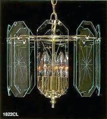 update glass panel chandelier vintage brass beveled atomic starburst