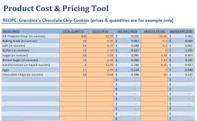 Product Pricing Calculator Small Food Business Food Product Cost Pricing Spreadsheet US 3