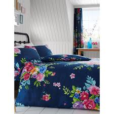 alice fl double duvet cover and pillowcase set navy and pink
