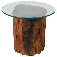 tree trunk furniture for sale. Antique Petrified Tree Trunk Side Table With Glass Top For Sale Furniture L