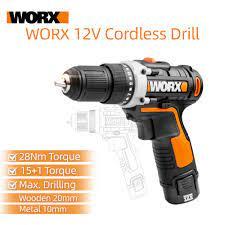 Worx 12V Máy Khoan Vặn Vít WX128.1 Điện Mini Cầm Tay Không Dây Máy Khoan  Điện Điện Gia Dụng Cụ Sạc Khoan Điện