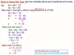 heavenly mr rouches maths solving simultaneous equations by substitution worksheet sol sim eq subbing large size