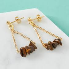 gold chandelier earrings with tiger s eye gemstones