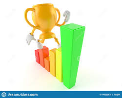 Golden Trophy Character With Chart Stock Illustration