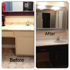 Painting Laminate Cabinets Before And After Bathroom Diy Painted Laminate Counters And