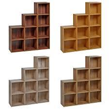 2-4 TIER WOODEN BOOKCASE SHELVING BOOKSHELF STORAGE FURNITURE CUBE DISPLAY  UNIT