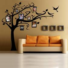 Words To Decorate Your Wall With Family Photo Wall Design With Brown Tree Wall Decals Ideas For Living Room Design With Light Brown Leather Sofa Ideasjpg
