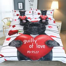 bulldog bedding set black red duvet cover quilt cover pillowcases cartoon pug dog home textiles for kids sets bedclothes kids bedding set comforters sets