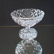 vintage diamond pattern glass dish candy mint nut collectible ho