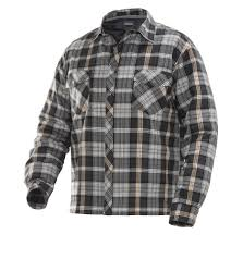 JOBMAN Quilt-lined Flannel Shirt-5157 & Dark Grey/Orange Adamdwight.com