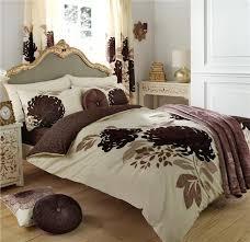 king size duvet set natural brown flower print quilt cover bed set