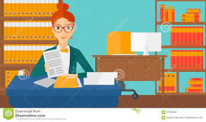 hr manager checking files stock vector image  hr manager checking files