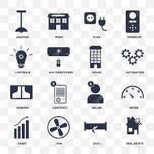 Set Of 16 Icons Such As Real Estate Leak Fan Chart Meter