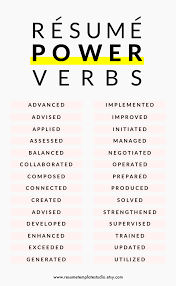 Power Verbs For Resumes Resume For Your Job Application