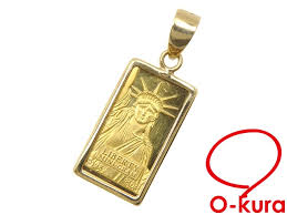 gold ingot pendant top las k18yg frame k24yg 1 3 g 18 karat gold 24 karat gold 750 yellow gold statue of liberty necklace bra deep