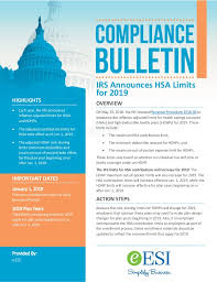 Compliance Bulletin Irs Announces Hsa Limits For 2019