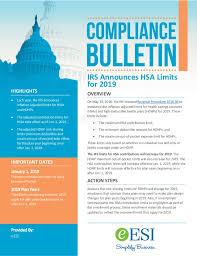 2019 Hsa Contribution Limits Chart Compliance Bulletin Irs Announces Hsa Limits For 2019