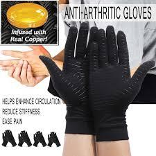 Women Men Hands Arthritis Gloves <b>Copper fiber</b> Therapy ...