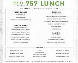 Soup Kitchen Menu Neo Kitchen Bar Menu Menu For Neo Kitchen Bar Newport News