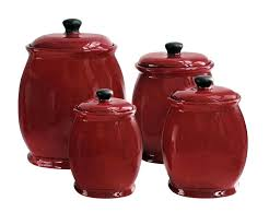 red glass canisters red canister set for kitchen for basics 4 piece storage jar set red