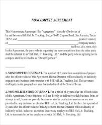 14 Sample Word Non Compete Agreements