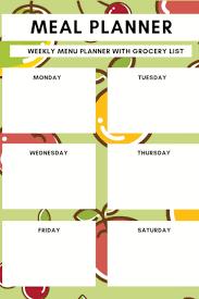 Meal Planner Weekly Menu Planner With Grocery List Cyrus
