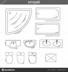 Satz Von Linearen Symbole Für Top Innenansicht Pläne Stockvektor