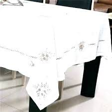 white cotton tablecloth rectangular wool embroidery linen dining table cover poly tablecloths 120 inch round