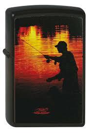 <b>Зажигалка Zippo</b> Рыбак, с Покрытием Black Matte, Латунь/Сталь ...