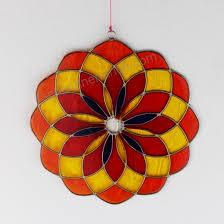 Fensterdeko Mandala Aus Resin Rot Gelb Fenster Deko Zum