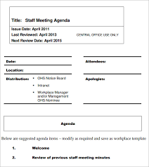 sample agendas for staff meetings sample staff meeting agenda 5 example format