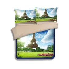 yeekin blue skye green grass eiffel tower design bedding sheet