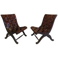 pair of spanish modern neoclassical leather strap chairs by pierre lottier for