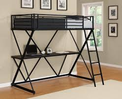 black silver metal twin loft bed with workstation underneath