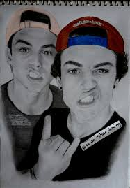 dolan twins drawing ethan g dolan and grayson b dolan graphite