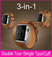 top quality 3 in 1 package hermes strap genuine leather watchbands for apple watch double tour cuff 42mm 38mm with diffe wearing methods strap leather
