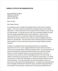 letter of recommendation for residency 79 examples of recommendation letters